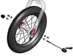 Jogger - Replacement Front Wheel Hardware (Incl. quick-release axel & red safety clips)