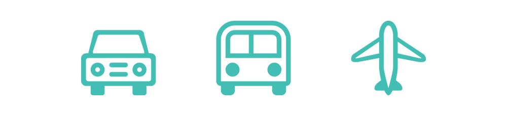 Transportation: car, plane, bus